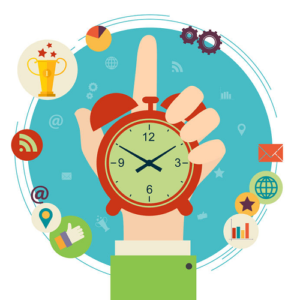 image of a hand holding a clock pointing to various daily activities